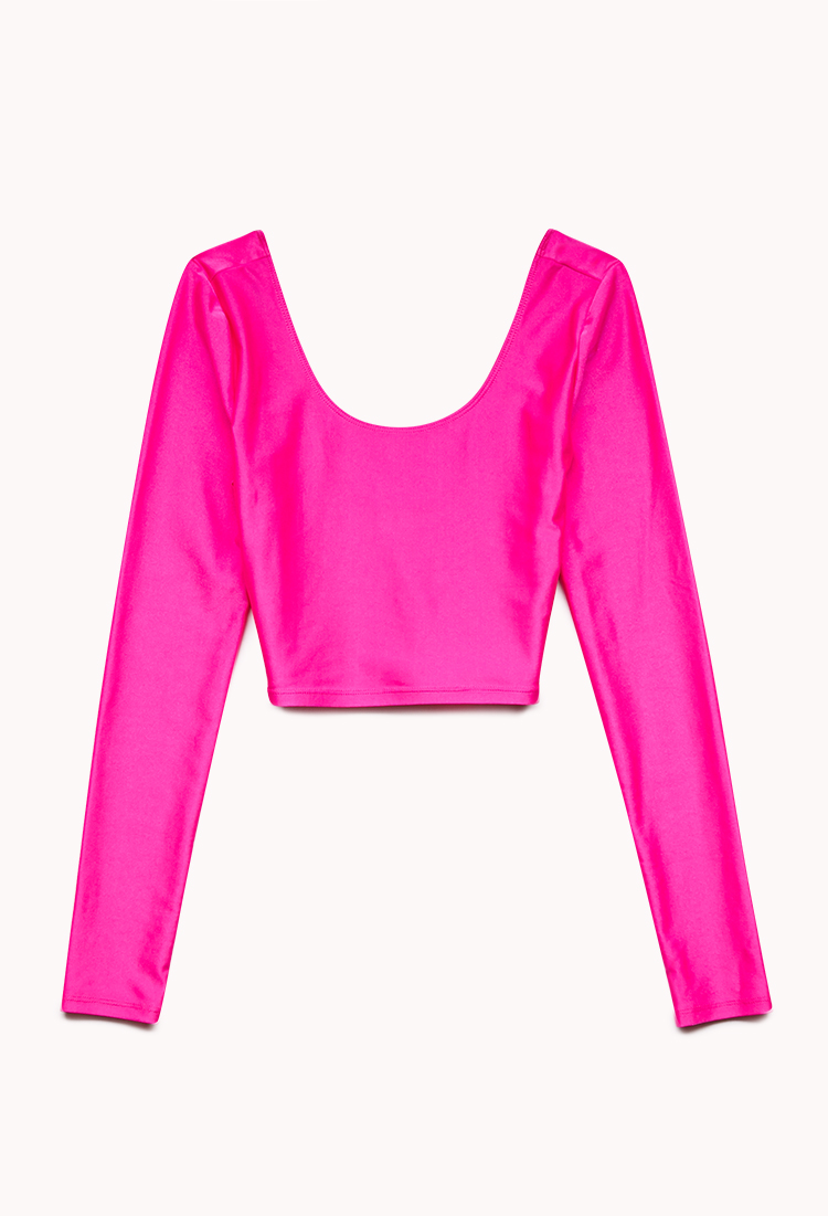 Forever 21 Highshine Crop Top in Pink (Hot pink) | Lyst
