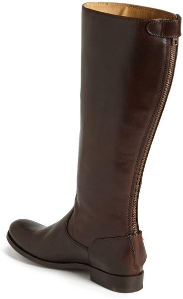 Frye Melissa Button Back Zip Boot In Brown Dark Brown Lyst