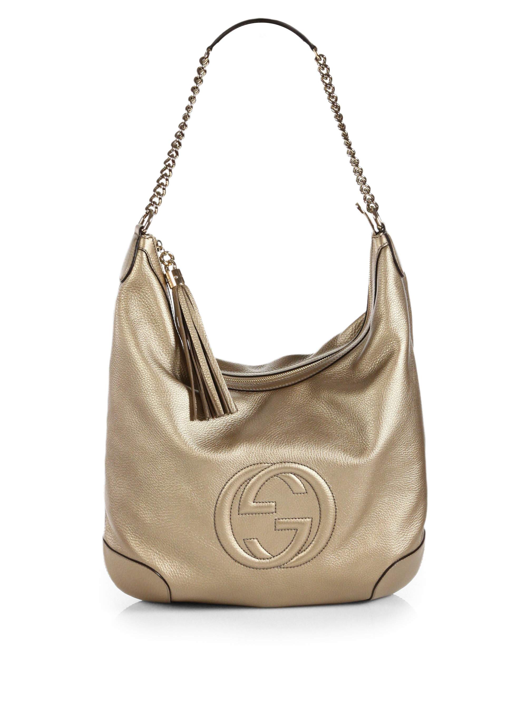 bd1b6ce124d Gucci Soho Metallic Leather Chain Shoulder Bag in Metallic - Lyst