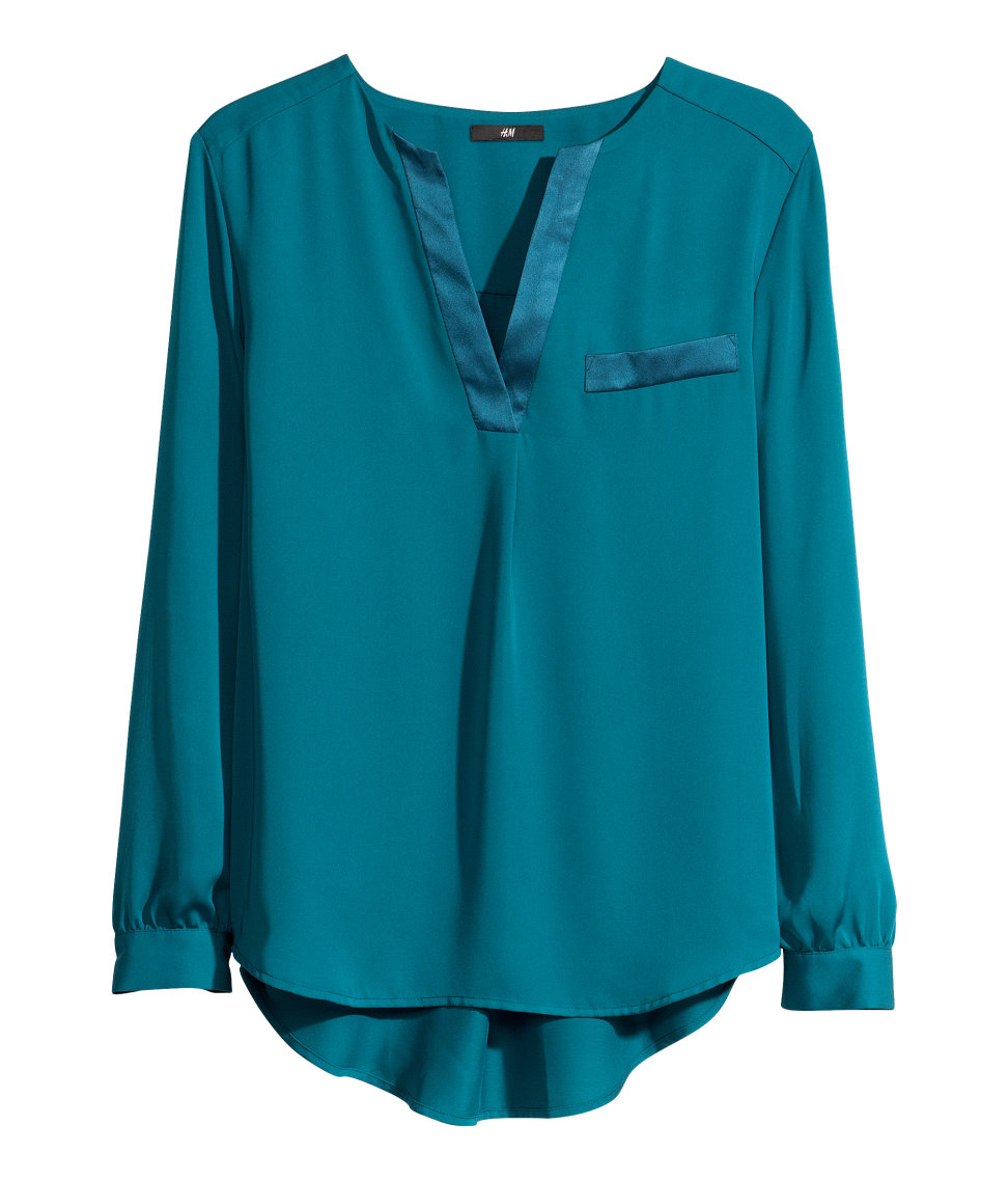 H&M Satin Blouse In Blue