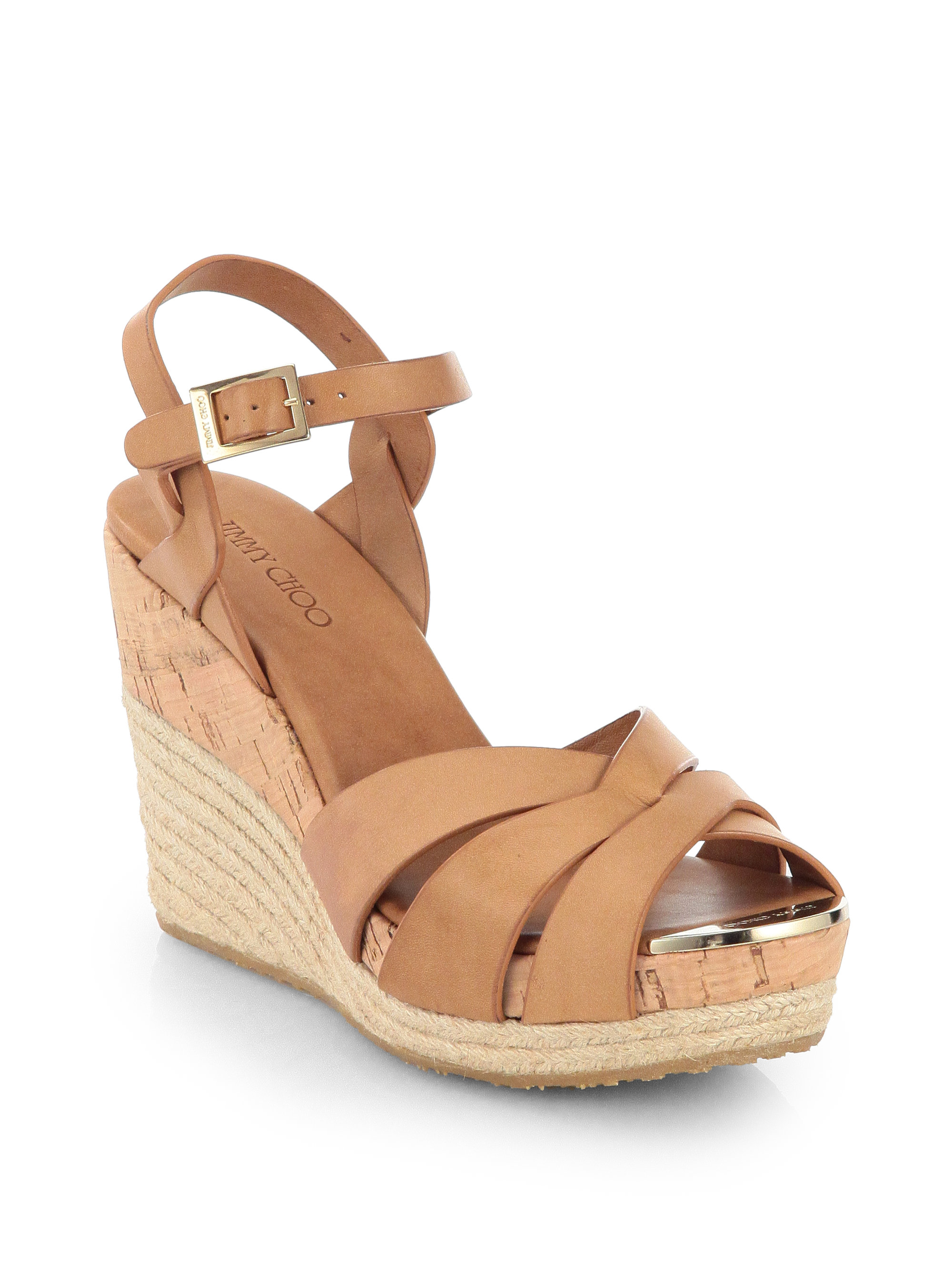 7ff7cebebea ... low price lyst jimmy choo pallet leather espadrille wedge sandals in  brown 67c9c ac412