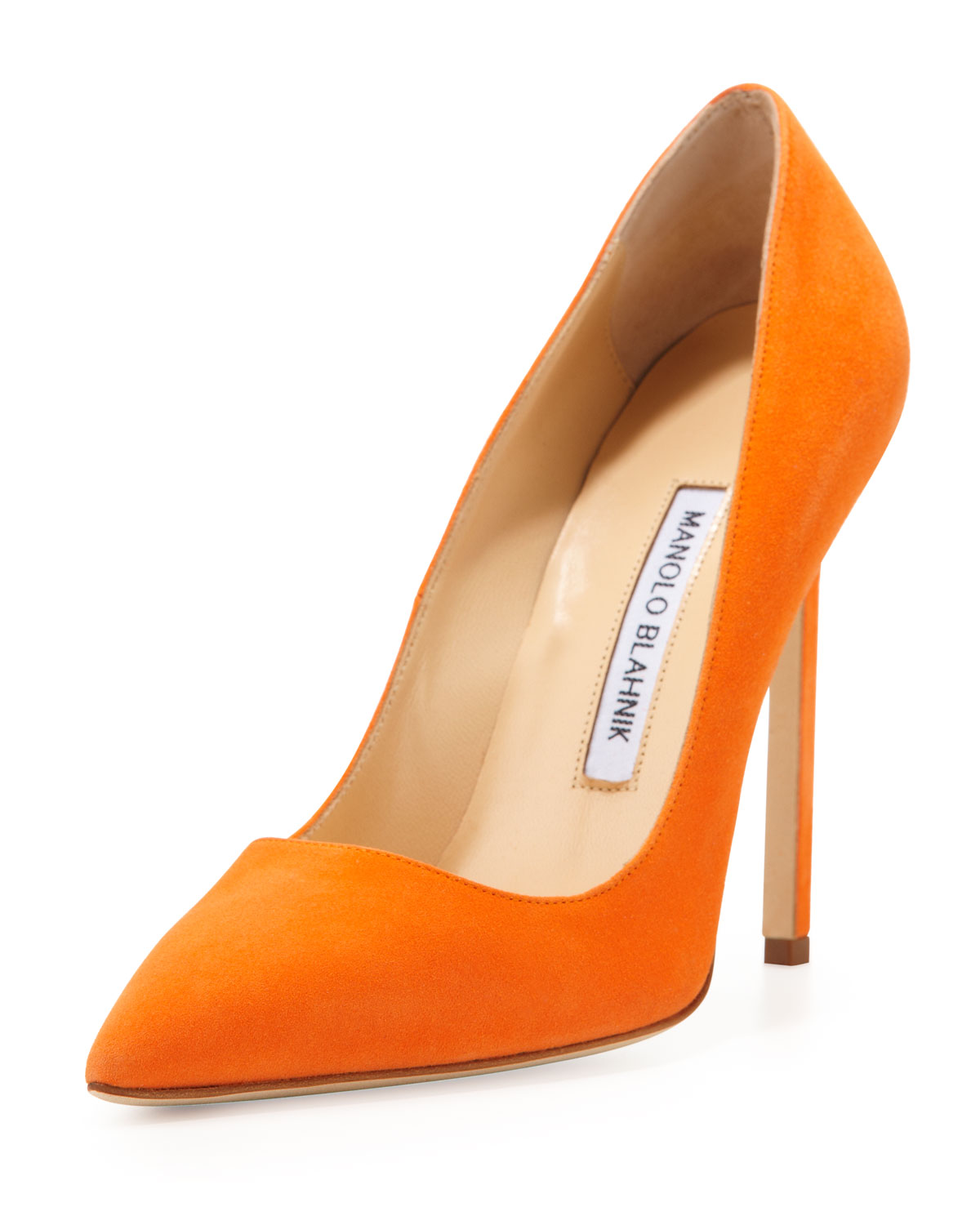 Manolo blahnik bb suede 115mm pump orange made to order in for Who is manolo blahnik