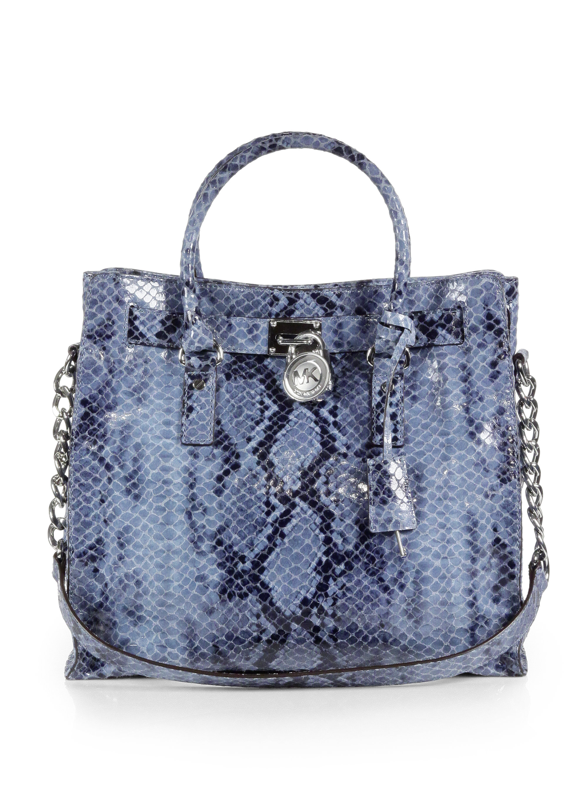 Lyst - MICHAEL Michael Kors Hamilton Snakeembossed Leather Large ... 0ff79a098181b