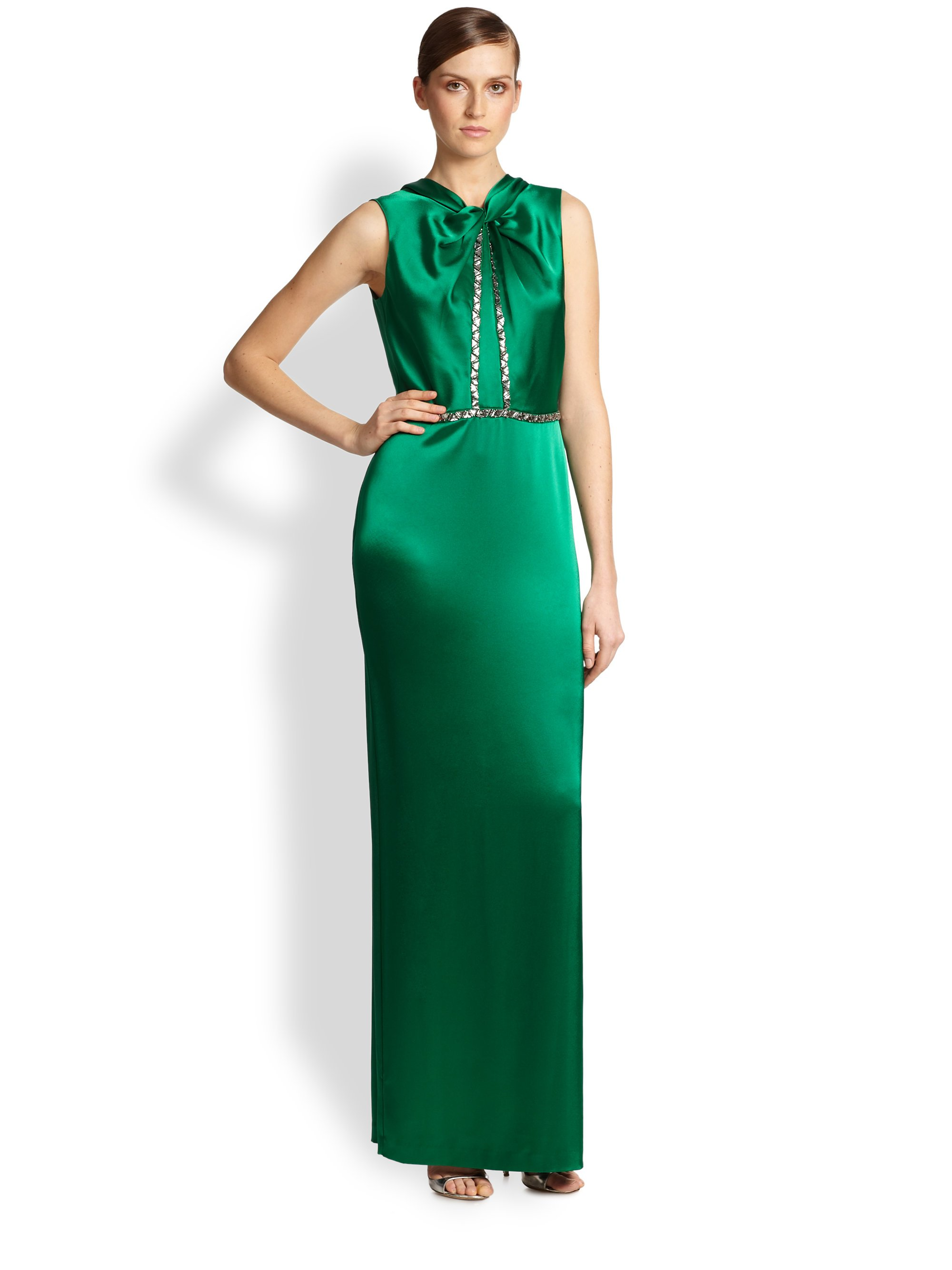 Lyst - St. John Embellished Draped Satin Gown in Green