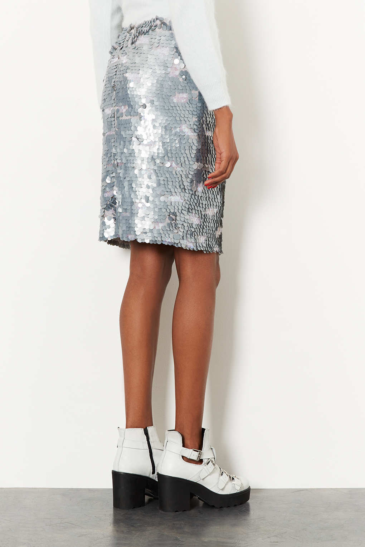 TOPSHOP Silver Sequin Pencil Skirt in Metallic - Lyst
