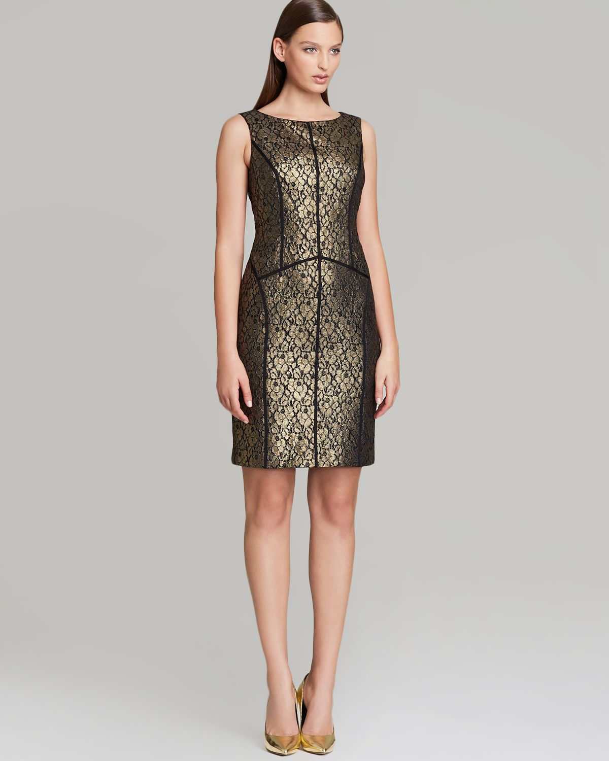 Adrianna papell Lace Sheath Dress with Taping Detail in Metallic ...