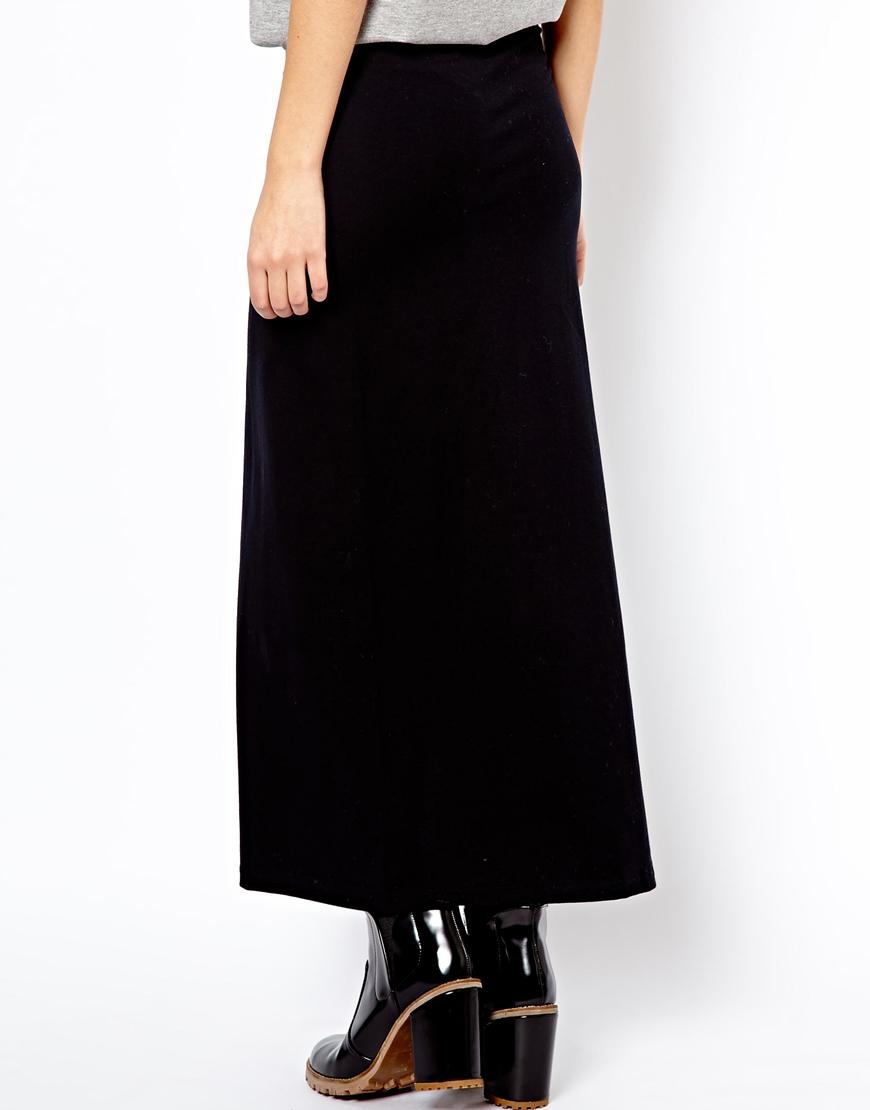 asos american apparel split side maxi skirt in black lyst