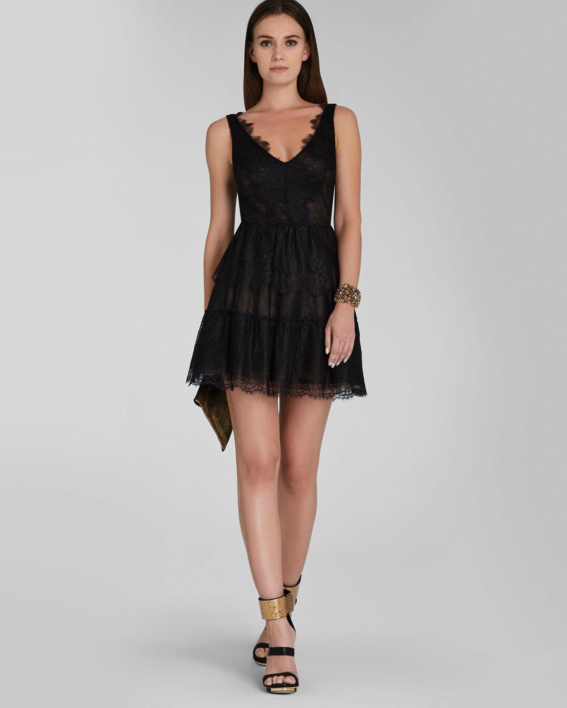 098ad32de8 BCBGMAXAZRIA Dress - V Neck Lace Fit And Flare Willa in Black - Lyst