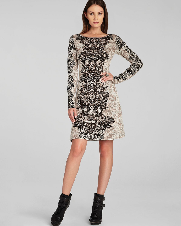 08340a435bd Lyst - BCBGMAXAZRIA Dress Regan Etched Floral in Black