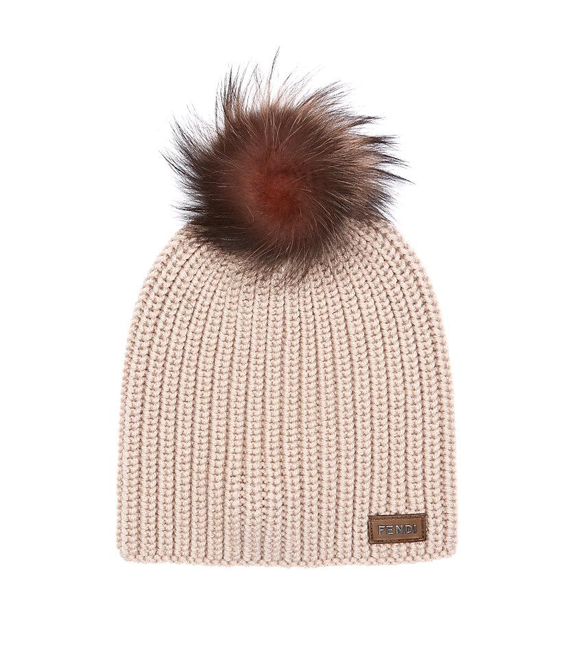 Fendi Fur Pom Pom Hat in Pink - Lyst 143fbb23604