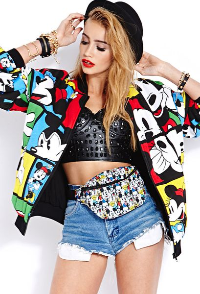 21 Mickey Mouse Nail Art Designs Ideas: Forever 21 Oh Mickey Bomber Jacket In Multicolor (Black