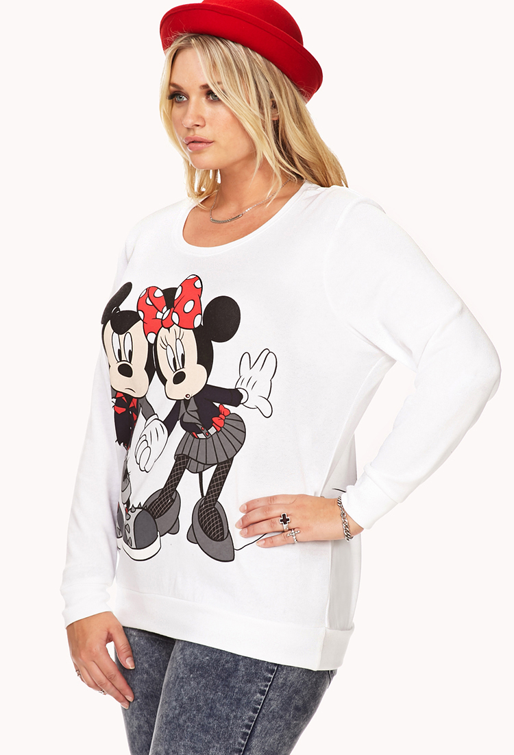21 Mickey Mouse Nail Art Designs Ideas: Forever 21 Plus Size Edgy Mickey & Minnie Mouse Sweatshirt