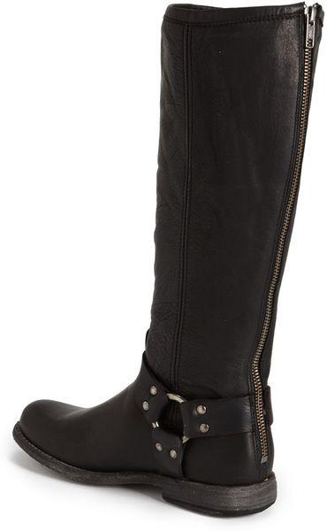 frye phillip harness boot in black black extended