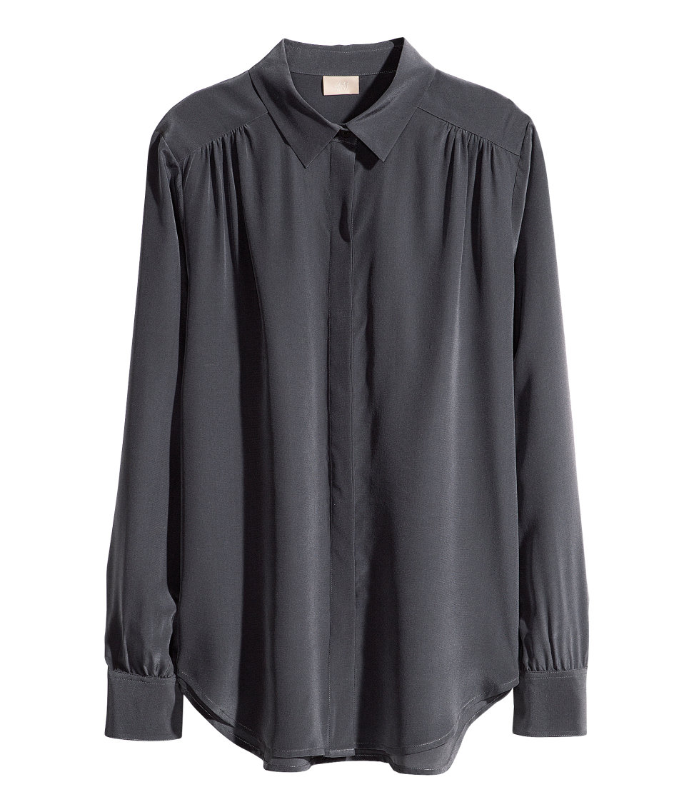 Black Silk Blouse Long Sleeve