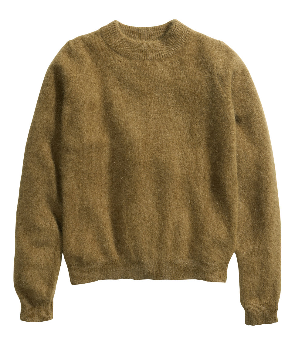 cd95a4f1be Lyst - H M Jumper in An Angora Blend in Green