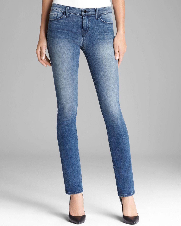 lyst j brand raw edge skinny jeans in black. Black Bedroom Furniture Sets. Home Design Ideas