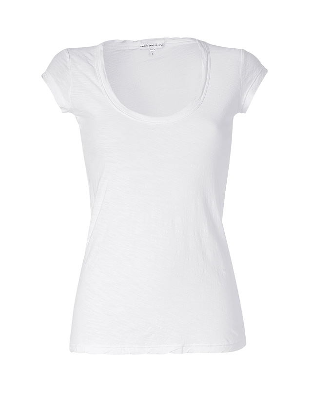 james perse cap sleeve scoop neck cotton t shirt in white