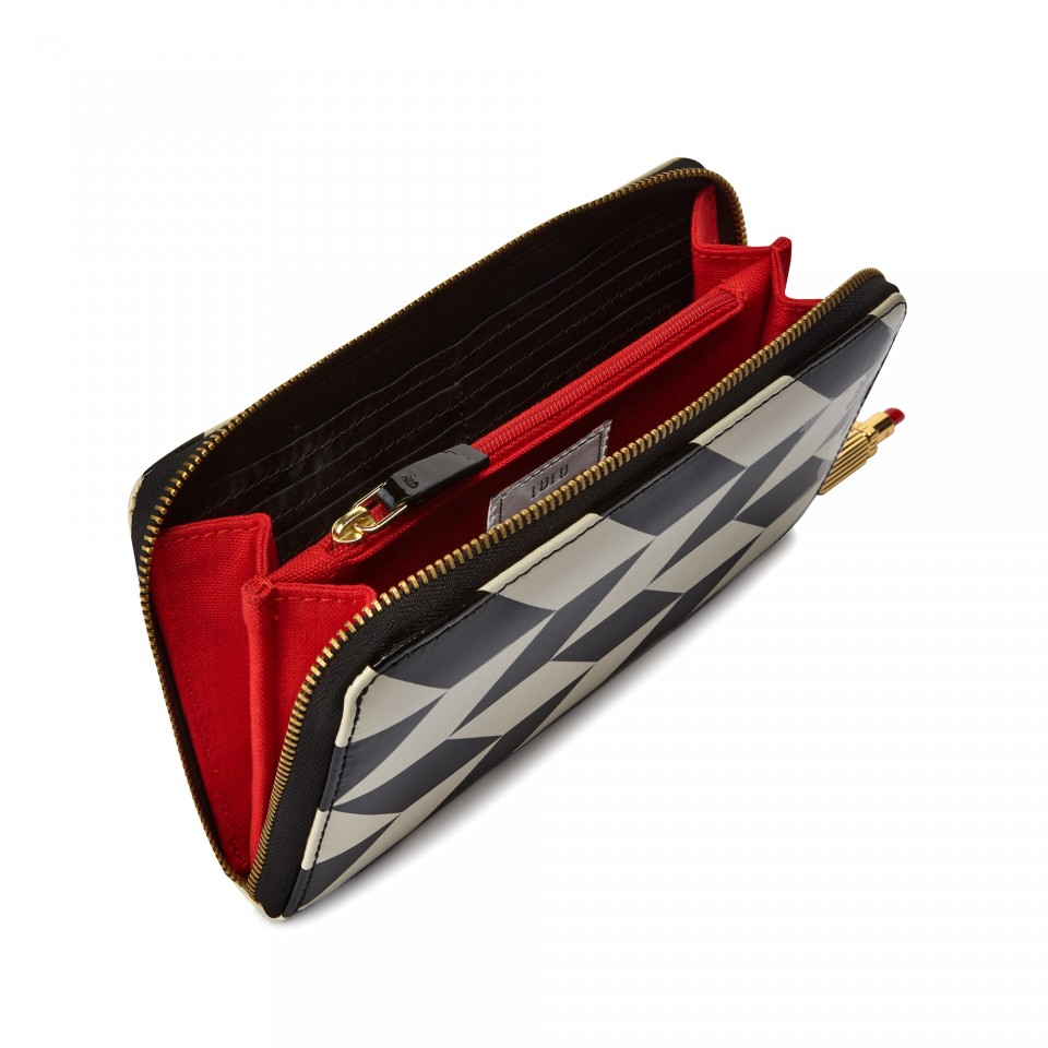 Lyst - Lulu guinness Black and Stone Leather Chevron ...