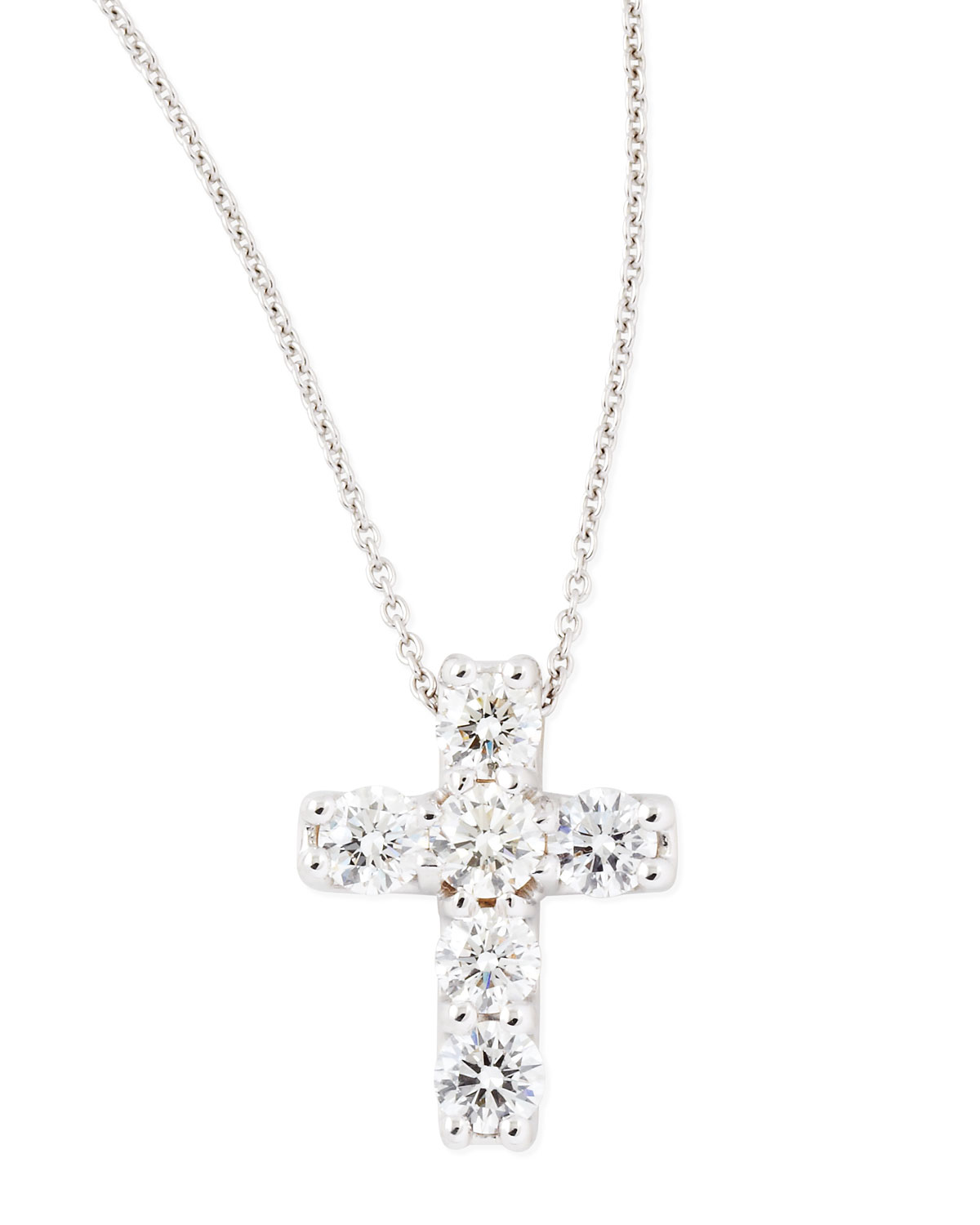 lyst roberto coin 17 white gold diamond cross pendant. Black Bedroom Furniture Sets. Home Design Ideas