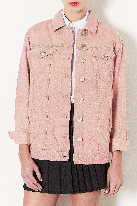 Topshop Moto Heart Flag Western Jacket in Pink | Lyst