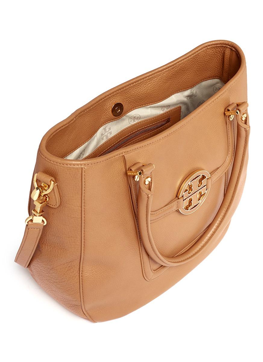 tory burch amanda classic handle hobo bag in brown