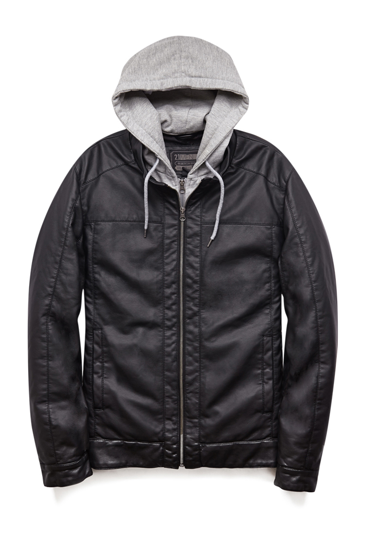 Hooded faux leather jacket men