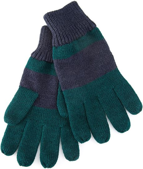 Knitting Patterns Striped Gloves : 21men Striped Knit Gloves in Blue for Men (Navy/green) Lyst