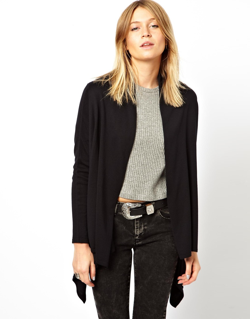 Minkpink Asos Waterfall Cardigan with Cropped Back in Black | Lyst