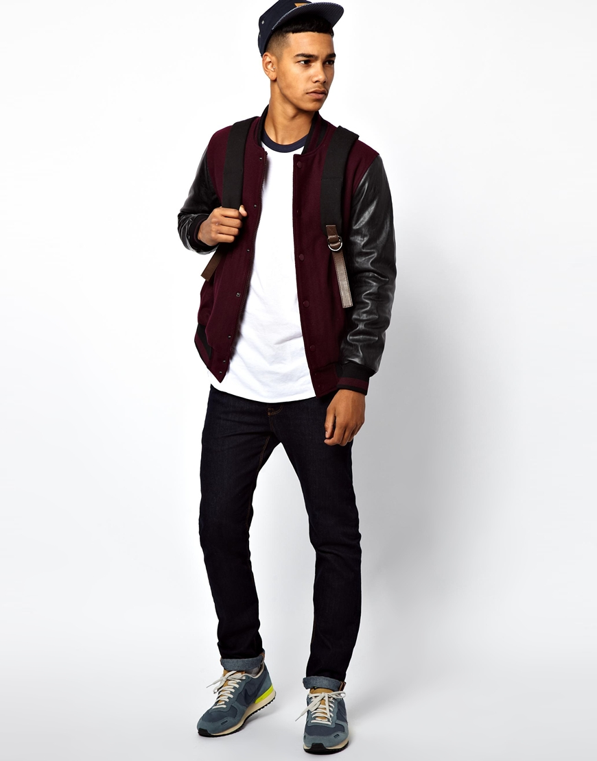 Asos Bomber Jacket with Contrast Leather Look Sleeves in Purple