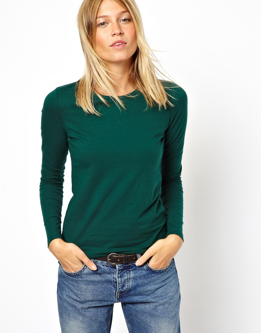 Asos Long Sleeve Top with Crew Neck in Green (Darkgreen ...