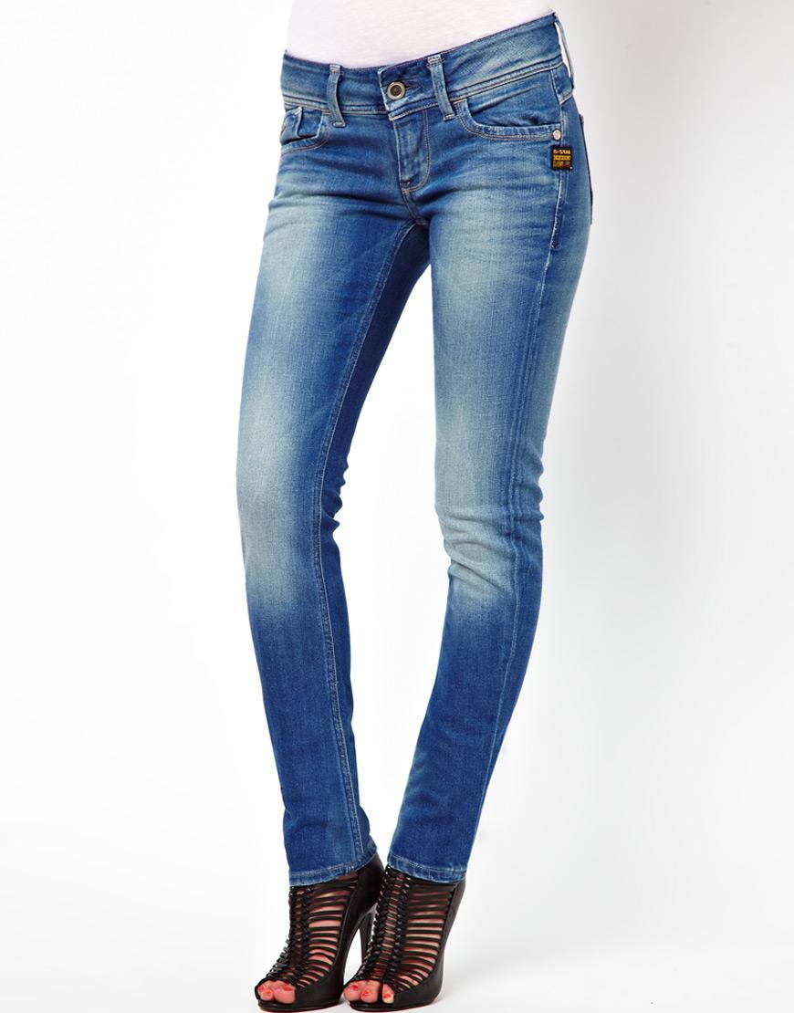 g star raw lynn slant pocket skinny jeans in blue lyst. Black Bedroom Furniture Sets. Home Design Ideas