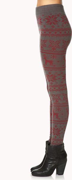 Fair Isle Sweater Leggings Forever 21 - Gray Cardigan Sweater