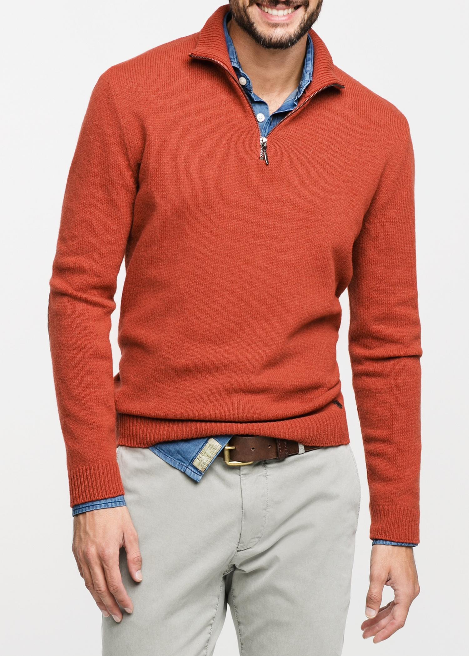 Lyst Mango Suede Elbow Patch Woolblend Sweater In Orange For Men