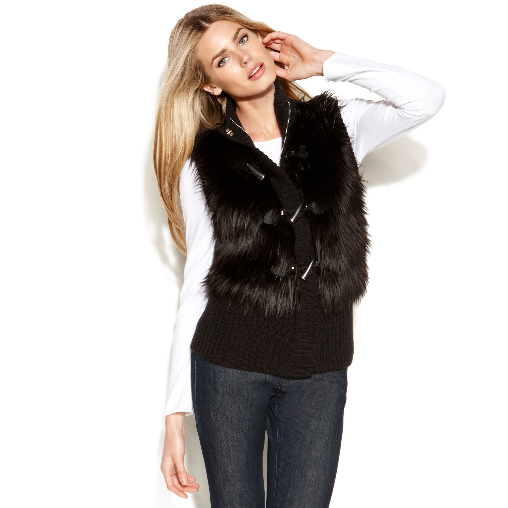 Shop bebe for: Jackets & Coats - Faux Fur Vest - Aspen-plans vest in a geo-texture faux fur. Silky, plush feel. Rib-knit back keeps the silhouette sleek and comfortable. Hidden front hook-and-eye closures.