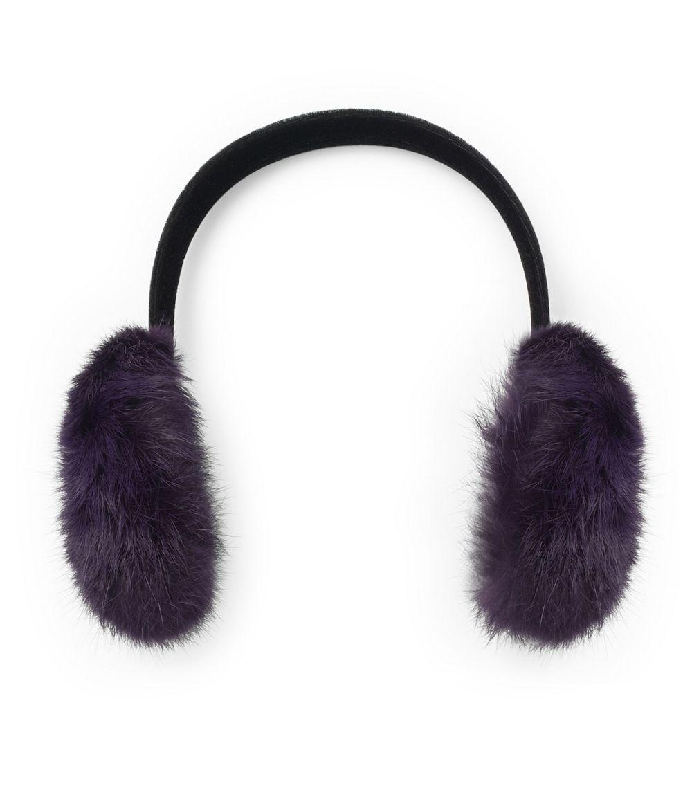 tory burch rabbit fur ear muffs in purple lyst