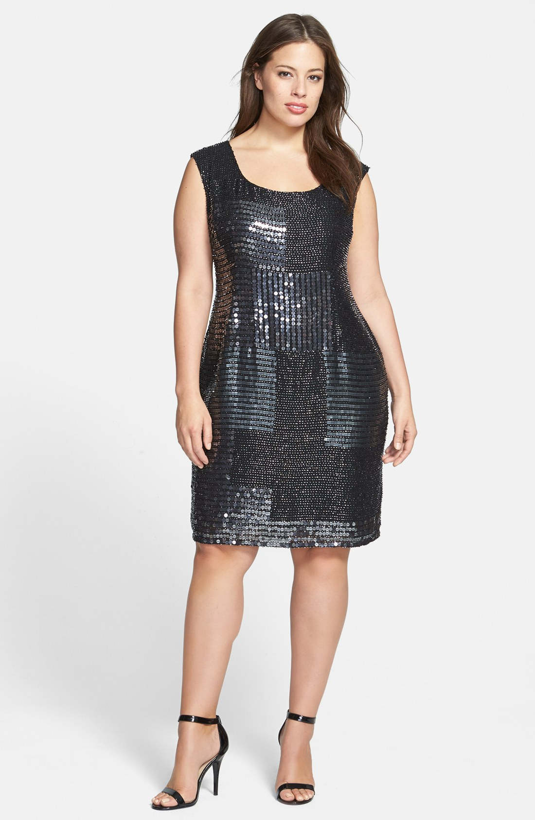 papell beaded shift dress in black lyst