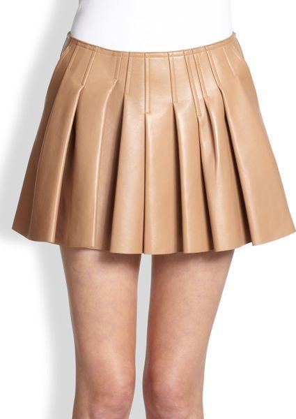 wang pleated leather skirt in khaki truffle lyst