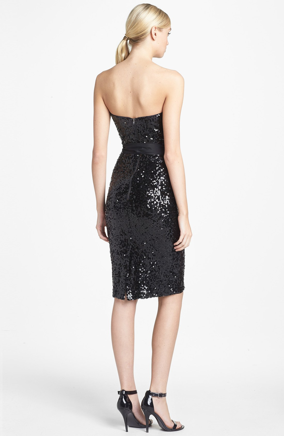 Black Sequin Tube Dress