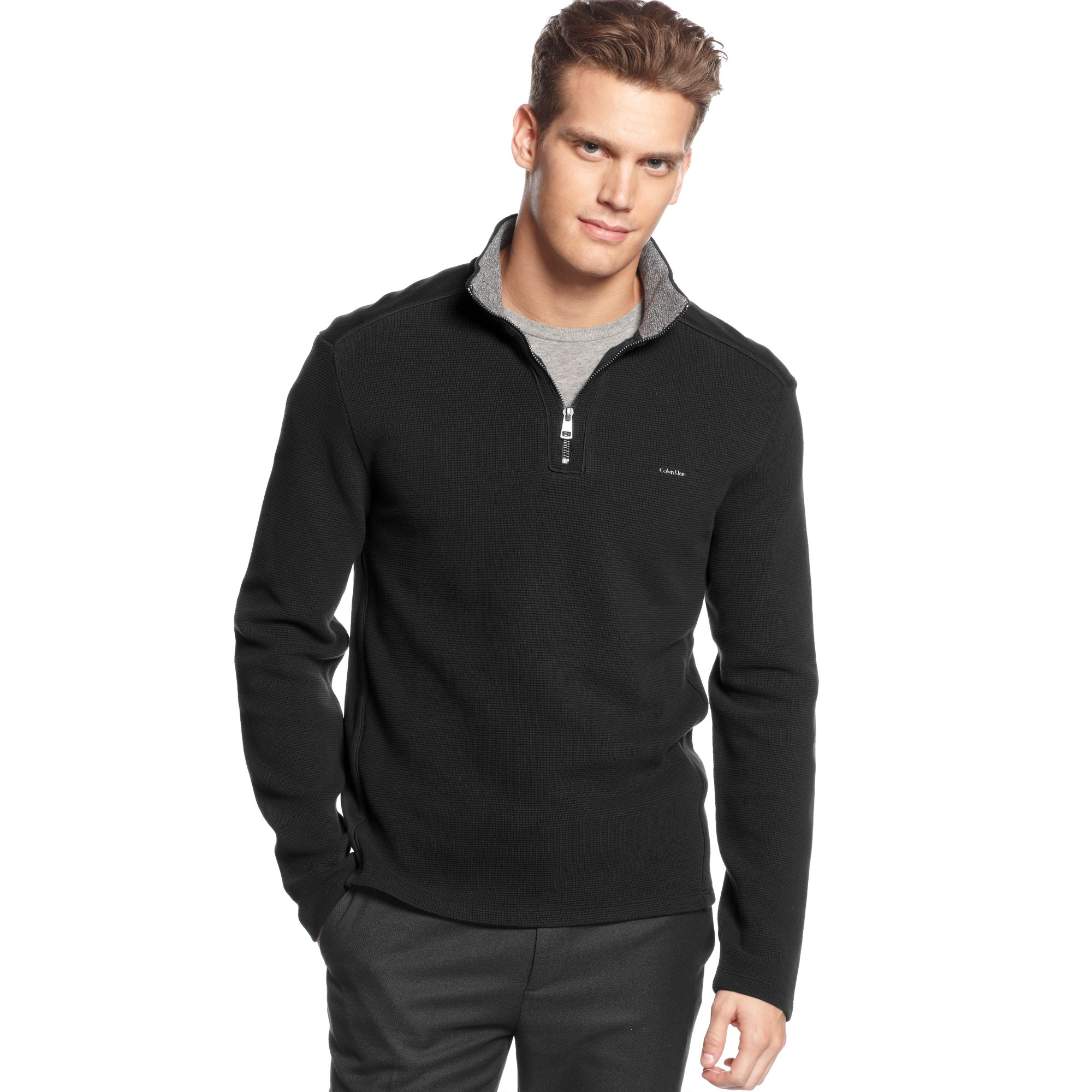 calvin klein quarter zip jacquard pullover sweater in black for men lyst. Black Bedroom Furniture Sets. Home Design Ideas