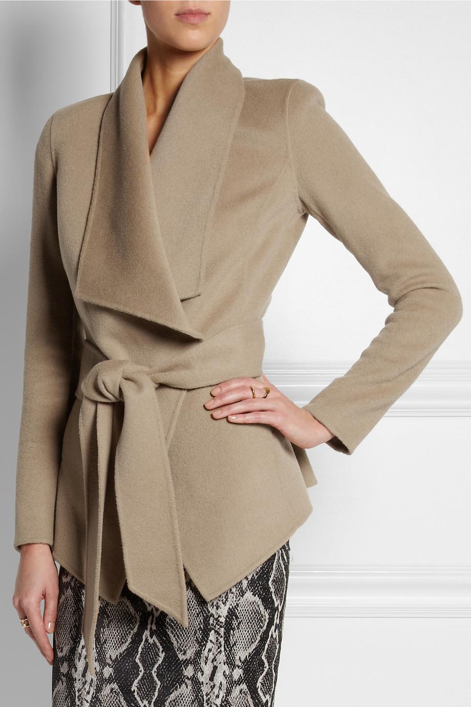 Donna karan Belted Cashmere Jacket in Natural | Lyst