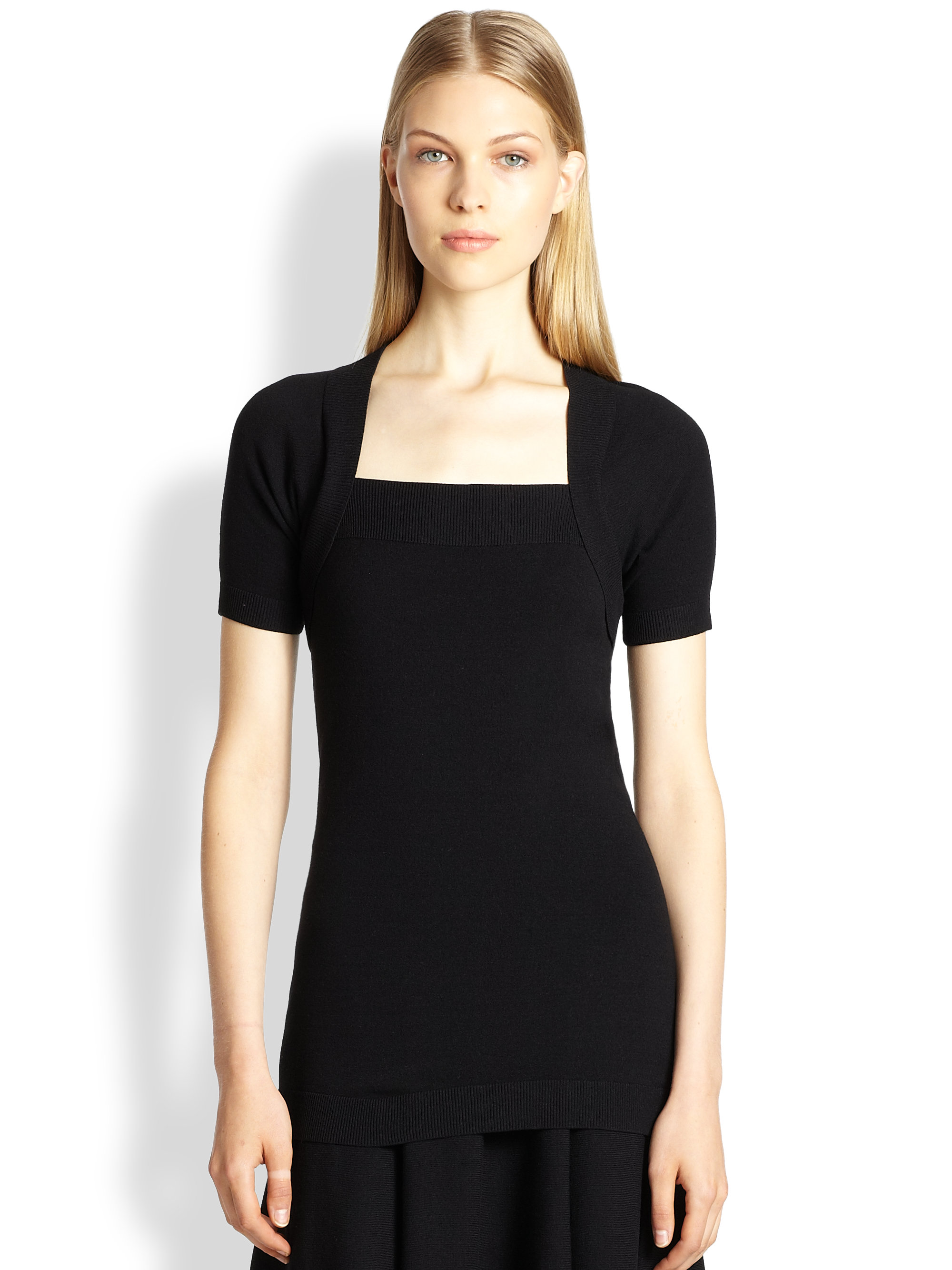 donna karan new york jersey shrug in black lyst