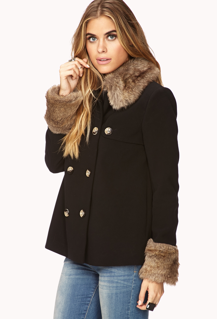 Forever 21 Contemporary Faux Fur Trimmed A Line Coat In