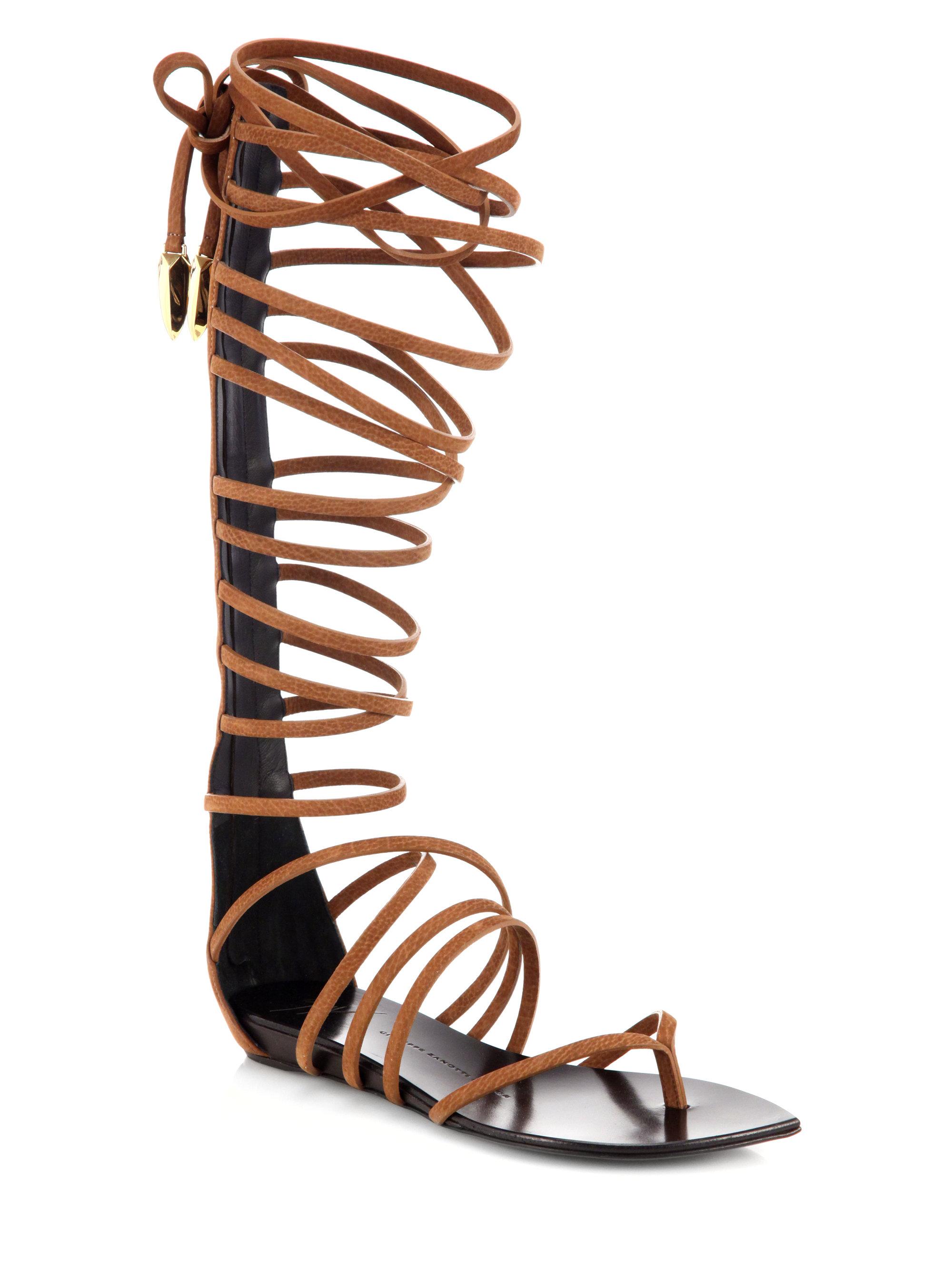 Giuseppe Zanotti Leather Gladiator Laceup Sandal Boots In