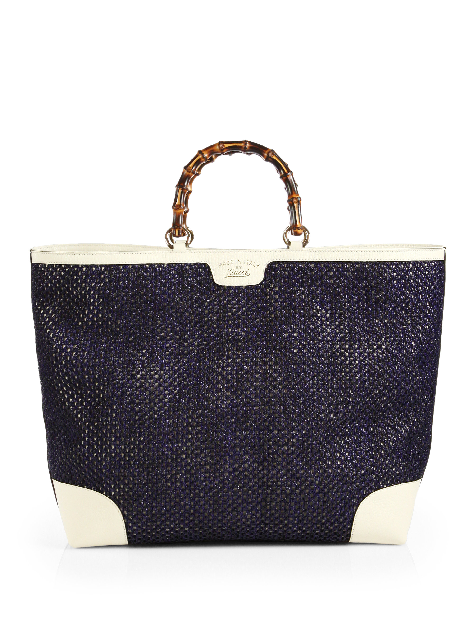 Lyst Gucci Bamboo Shopper Straw Tote In Blue