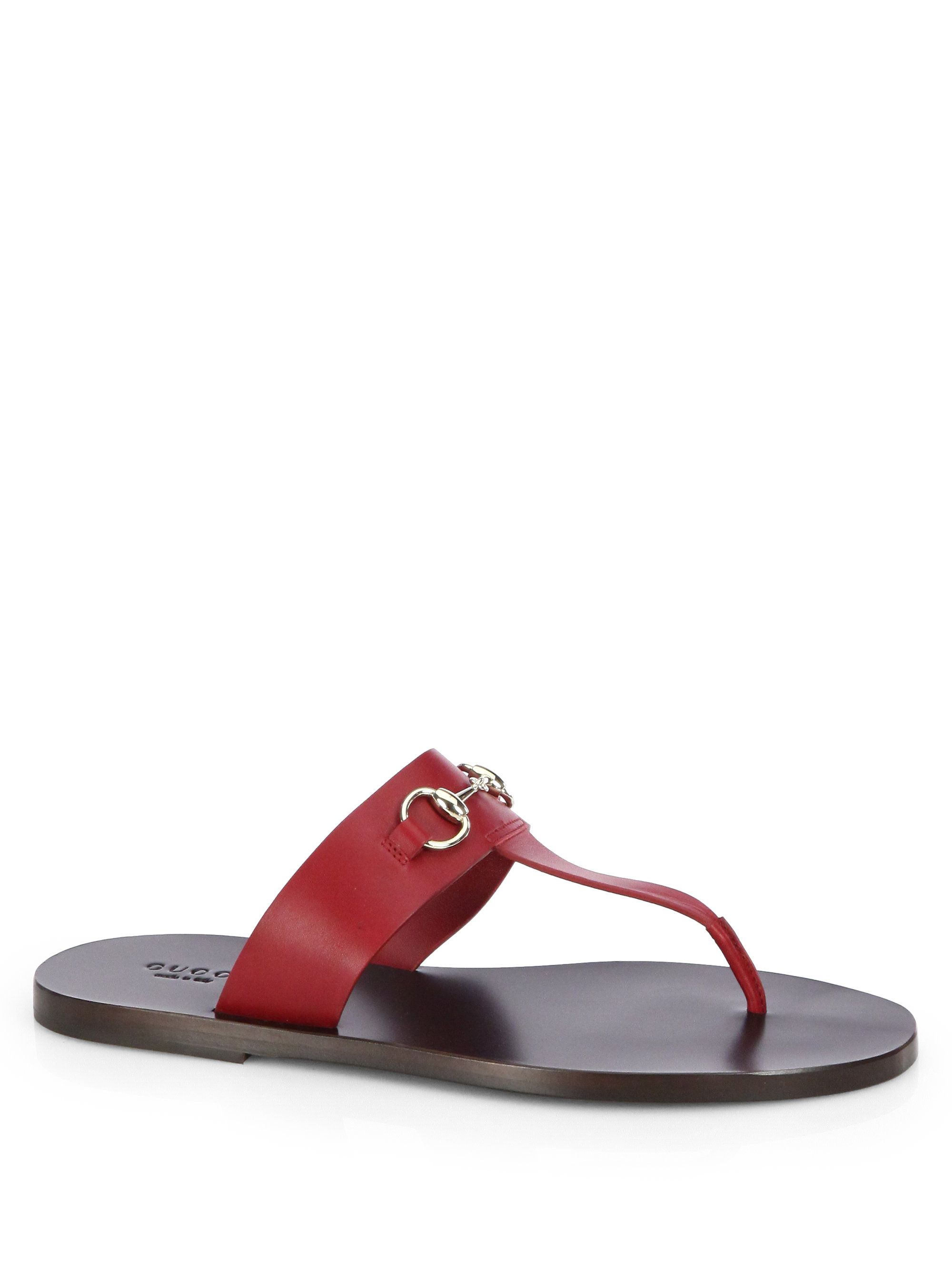 4ab60aeaa8b7f5 Lyst - Gucci Marcy Leather Horsebit Thong Sandals in Red
