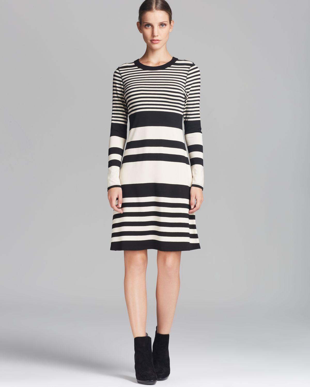 Karen kane Long Sleeve Stripe Dress in White | Lyst