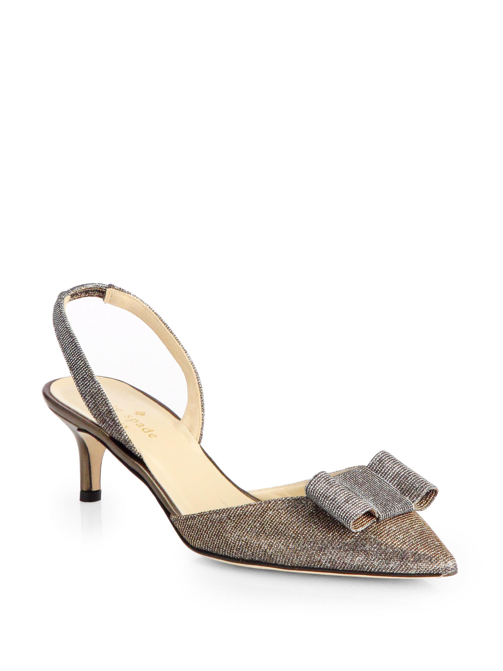 088a1d59d7b0 Lyst - Kate Spade Susi Metallic Lowheel Slingback Pumps in Brown