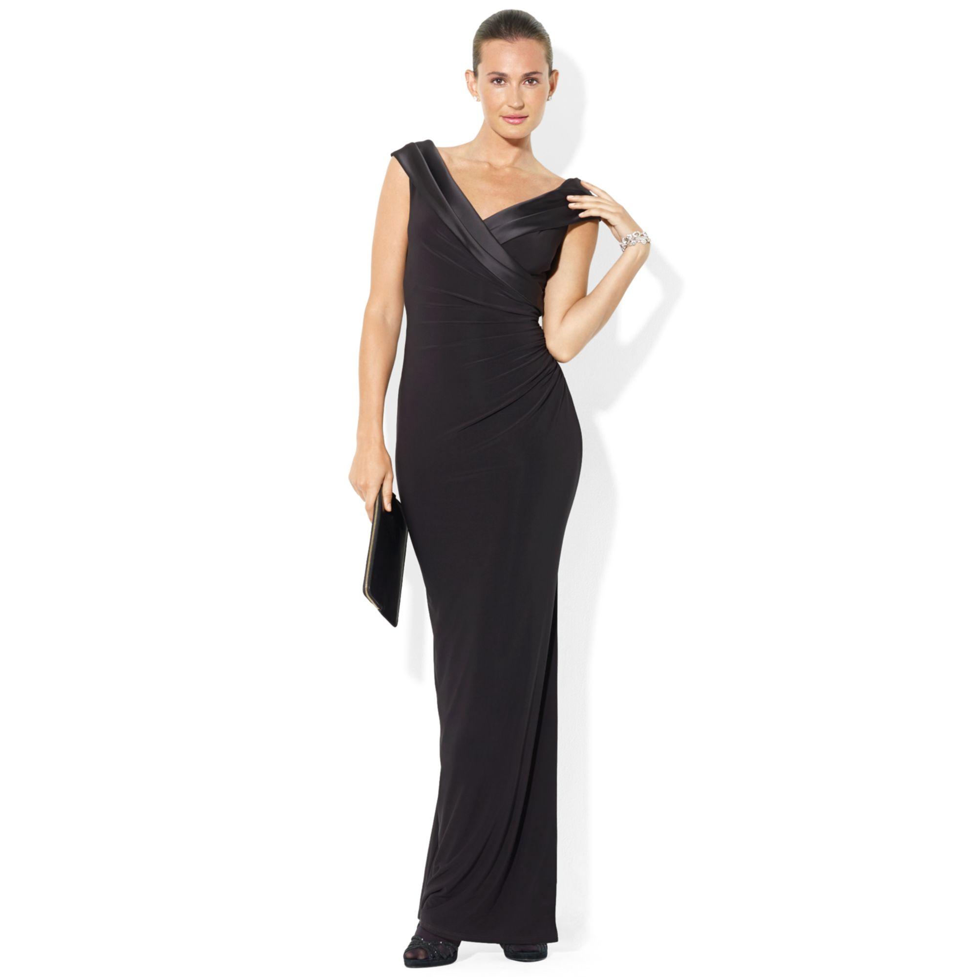 Lauren By Ralph Lauren Draped Crepe Gown In Black