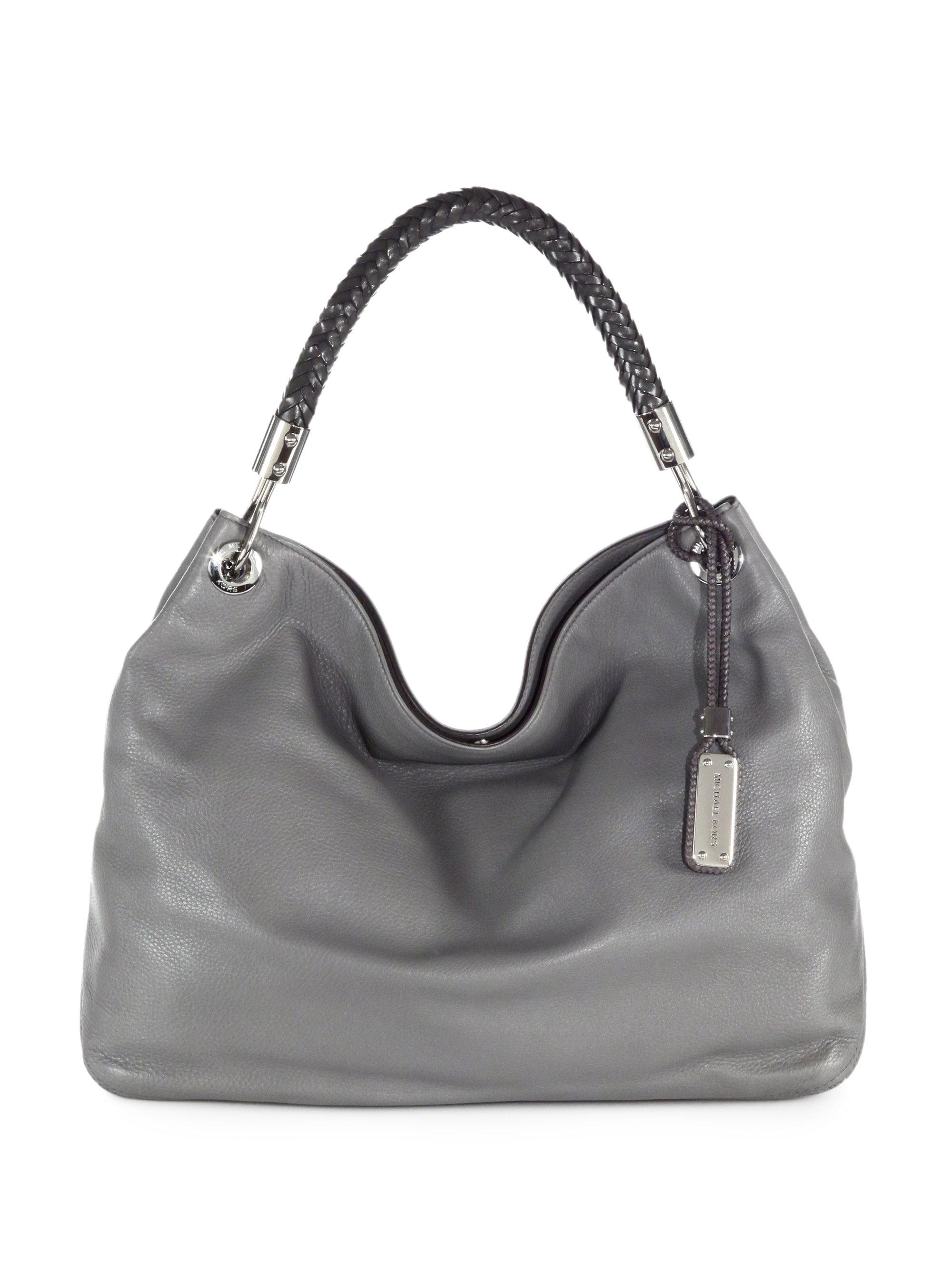 Michael kors Skorpios Leather Shoulder Bag in Gray | Lyst