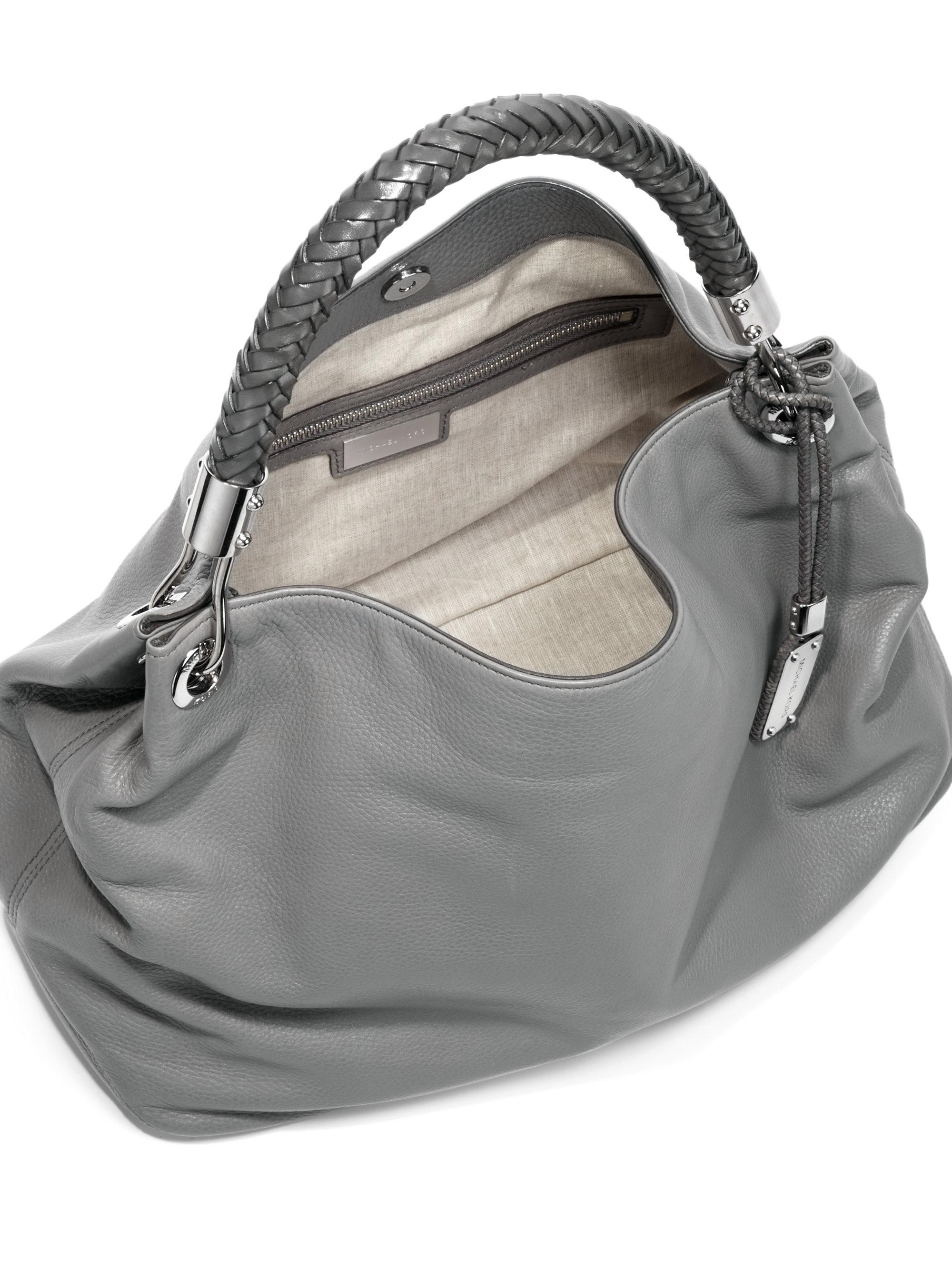 Lyst Michael Kors Skorpios Leather Shoulder Bag In Gray